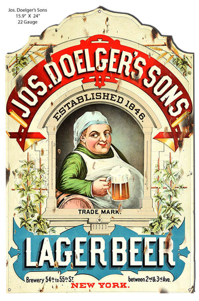 Jos Doelgers Sons Lager Beer Cut Out Bar Metal Sign 15.9x24