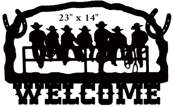 Welcome Cowboys Cut Out Wall Art Silhouette Metal Sign 14x22.2