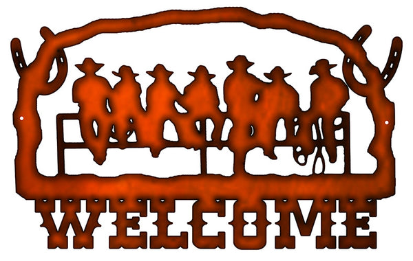 Welcome Cowboys Cut Out Faux Copper Finish Metal Sign 14x22.2