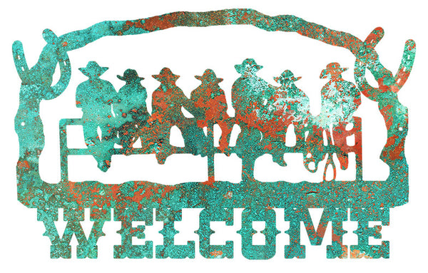 Welcome Cowboys Cut Out Faux Patina Country Metal Sign 14x22.2