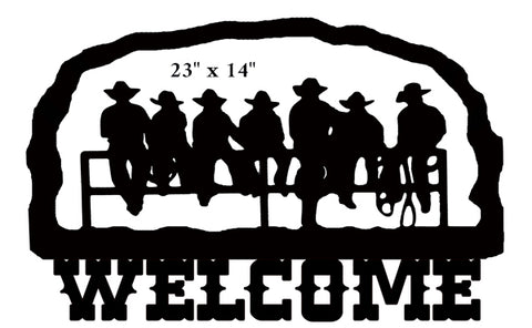 Welcome Cowboys Cut Out Wall Art Silhouette Metal Sign 14.7x22.7