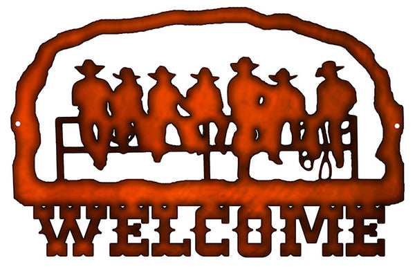Welcome Cowboys Cut Out Faux Copper Finish Metal Sign 14.7x22.7