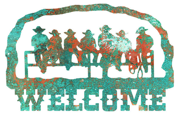 Welcome Cowboys Cut Out Faux Patina Country Metal Sign 14.7x22.7