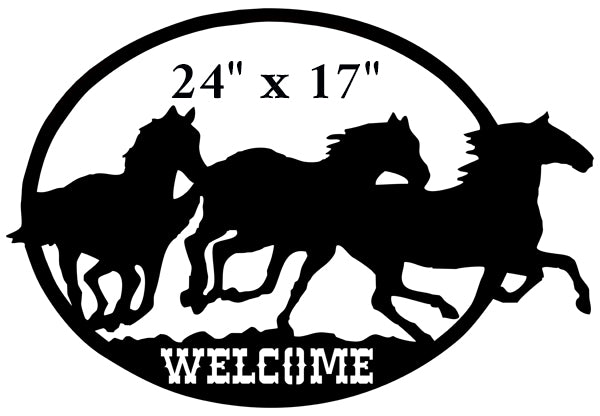 Welcome Horses Cut Out Wall Art Silhouette Metal Sign 17x24