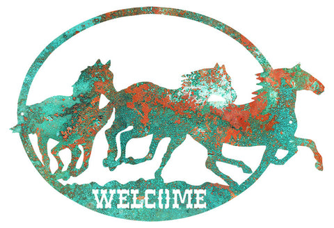 Welcome Horses Cut Out Faux Patina Wall Art Metal Sign 17x24