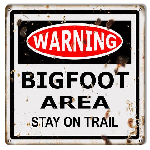 Warning Bigfoot Area Reproduction Funny Warning Metal Sign 12x12