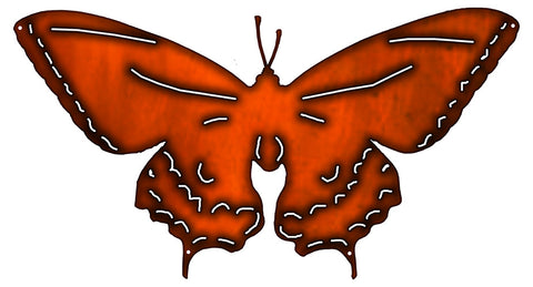 Butterfly Cut Out Faux Copper Finish Metal Sign 12.3x22.8