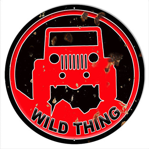 Jeep Wild Thing Red Cut Out Metal Sign 30x30 Round