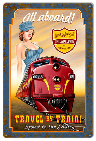 All Aboard Train Reproduction Pin Up Girl Railroad Metal Sign 12x18