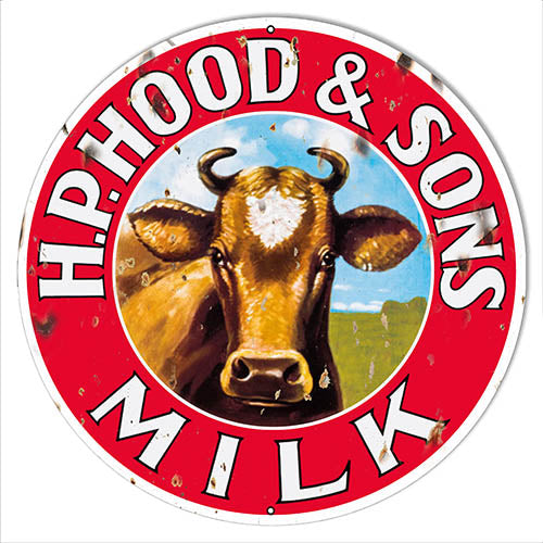 H.P. Hood & Sons Milk Reproduction Country Metal Sign 14x14 Round