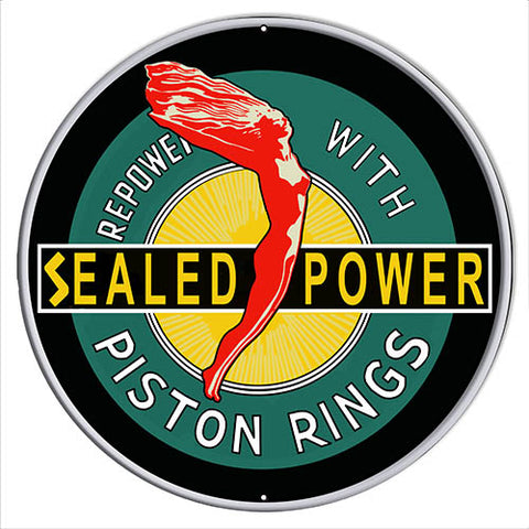 Piston Rings Reproduction Garage Shop Metal Sign 24x24 Round