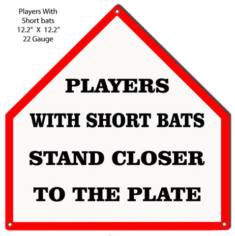 Players To The Plate Cut Out Baseball Funny Metal Sign 12.2x12.2