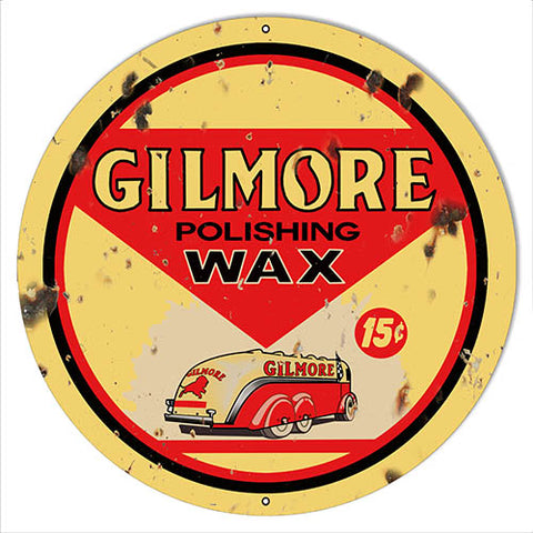 Gilmore Wax Reproduction Garage Shop Metal Sign 14x14 Round