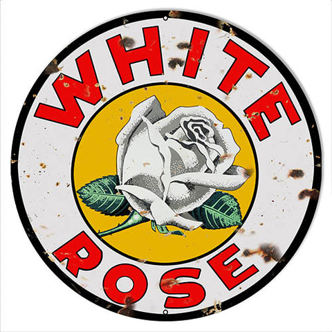 White Rose Reproduction Motor Oil Metal Sign 24x24 Round