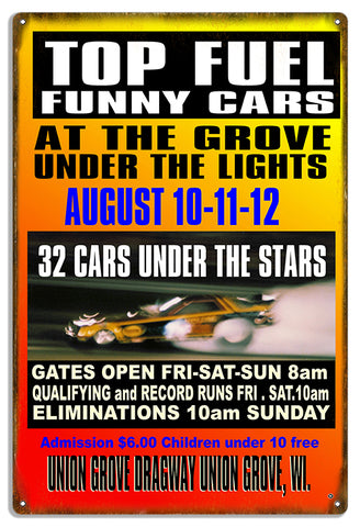 Union Grove Dragway Reproduction Motor Speedway Metal Sign 12x18