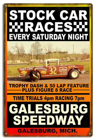 Galesburg Car Races Reproduction Motor Speedway Metal Sign 12x18