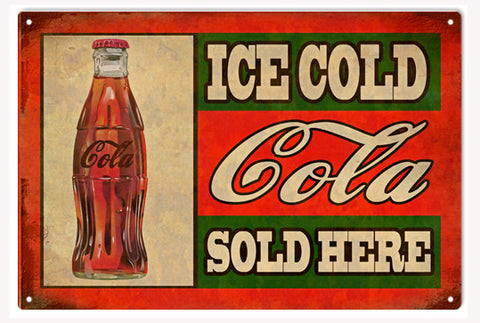 Cola Soda Drink Reproduction Restaurant Nostalgic Metal Sign 18x30