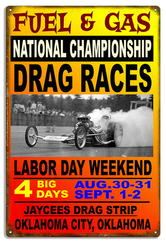 Oklahoma Drag Races Reproduction Motor Speedway Metal Sign  16x24
