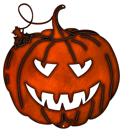 Jack O Lantern Cut Out Fax Copper Finish Metal Sign 17.4x18.6