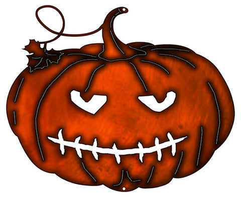 Jack O Lantern Cut Out Fax Copper Finish Metal Sign 17.2x14.1