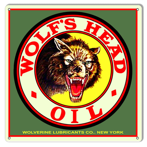 Wolfs Head Oil Reproduction Motor Oil Metal Sign 12x12