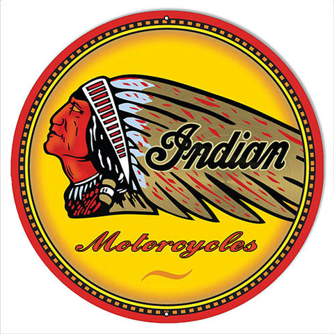 Indian Motorcycles Reproduction Garage Metal Sign 18x18 Round
