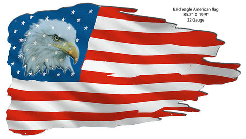 Bald Eagle American Flag Cut Out State Flag Metal Sign 19.9x35.2