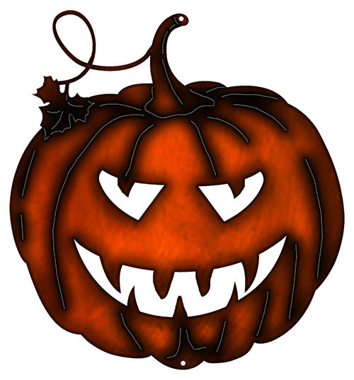 Jack O Lantern Cut Out Fax Copper Finish Metal Sign 9.8x10.5