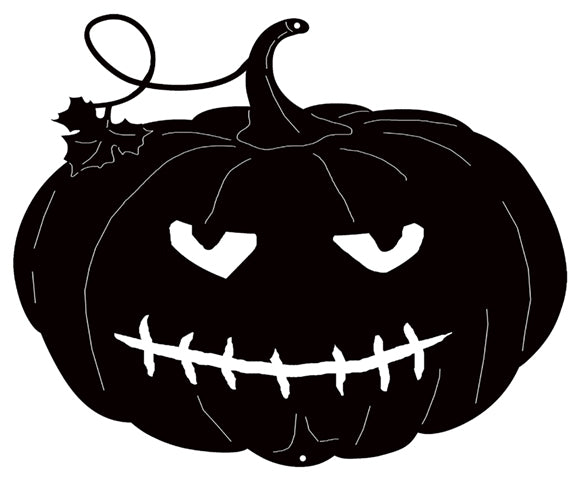 "Jack O Lantern Black Metal Cut Out Halloween Decor 9.5""x7.8""  RVG1401B"