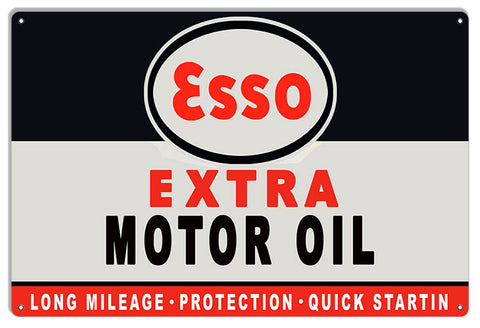 "Extra Large Esso Extra Gas And Motor Oil Sign 18""x30"" .040 Alum Reproduction"