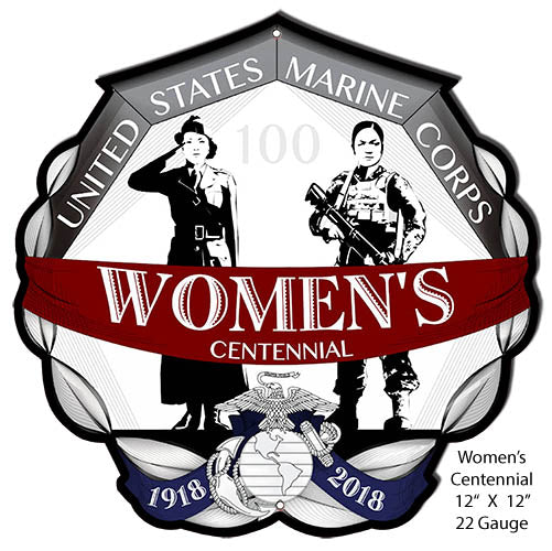 "USMC Womens Centennial 100 Years Of Service Metal cut Out 12""x12"" RVG1418S"