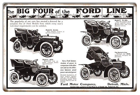 "Extra Large Big Four of The Ford Line 18""x30"" .040 Alum. Ford Motor Co."