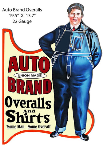 "Auto Brand Overalls And Shirts Metal Cut Out Advertisement 19.5""x13.7"" RVG1420S"
