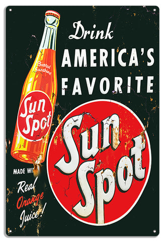 "America's Favorite Soda Sun Spot 12""x18"" .040 Aluminum Reproduction Sign RVG1443"