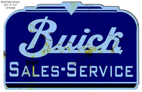 "Buick Sales Service Car Dealer Reproduction Metal Cut Out 23.5""x15.2"" RVG1449S"