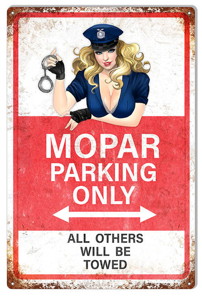 Mopar Parking Only With Pin Up Girl Aged Looking Reproduction Metal Sign RVG1539