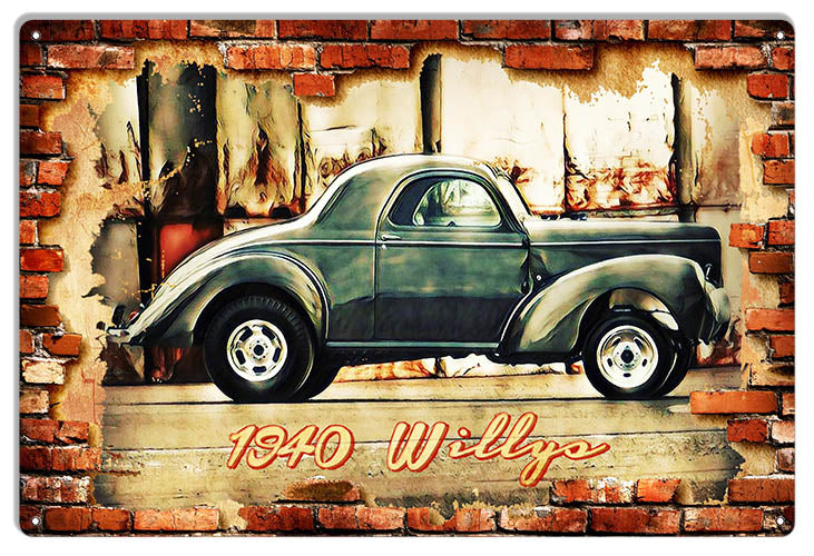1940 Willys Hot Rod Car Garage Art Extra Large Reproduction Metal Sign 18x30 RVG1543XL