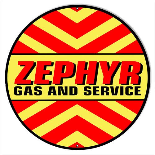 "Zephyr Gas And Service Motor Oil  Garage Art Repro'd Metal Sign 14"" Round RVG1545"