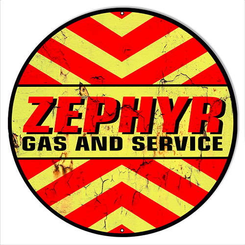 "Zephyr Gas And Service Motor Oil  Garage Art Repro'd Aged Metal Sign 14"" Round RVG1545"