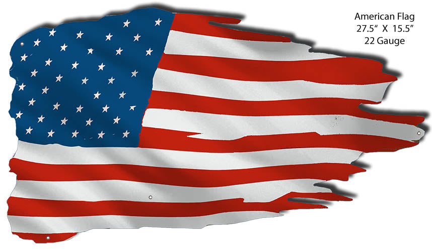 American Flag Cut Out Reproduction Large Nostalgic Metal Sign 15.5x27