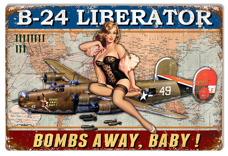 Airplane B-24 Liberator Pin Up Girl Sign By Steve McDonald 12x18