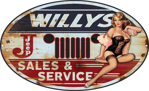 Jeep Willys Pin Up Girl Sign By Steve McDonald 11x18 Oval