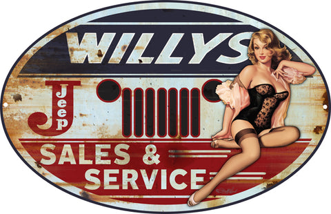 Jeep Willys Pin Up Girl Sign By Steve McDonald 15x24 Oval