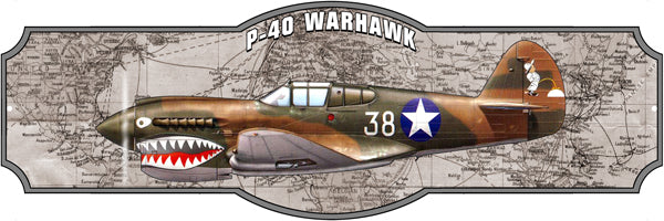 Airplane P40 Warhawk Laser Cut Out Sign By Steve McDonald 8x24