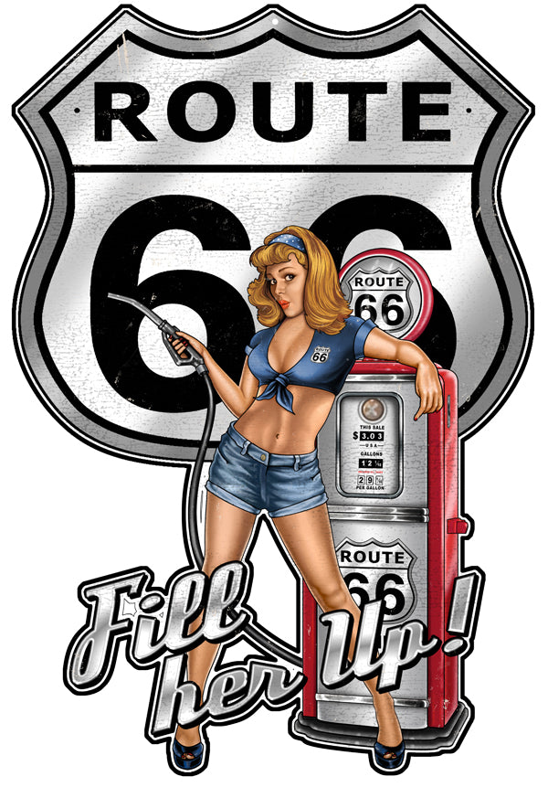 Route 66 Pin Up Girl Cut Out Sign By Steve McDonald 18x26