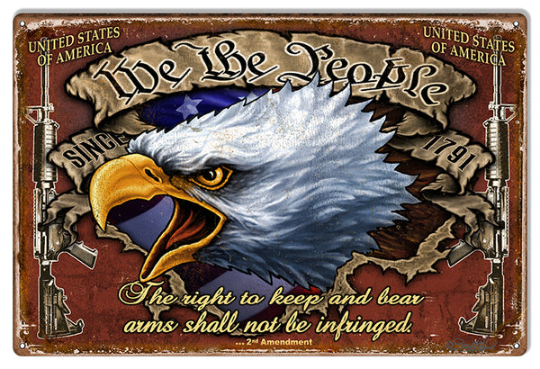 Right To Bear Arms Reproduction Gun Metal Sign 12x18