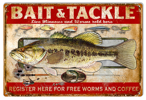 Bait And Tackle Reproduction Hunting And Fishing Metal Sign 12x18