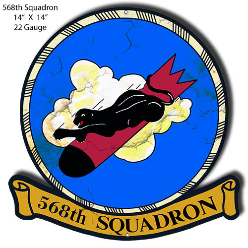 568th Squadron Laser Cut Out Military Metal Sign 14x14