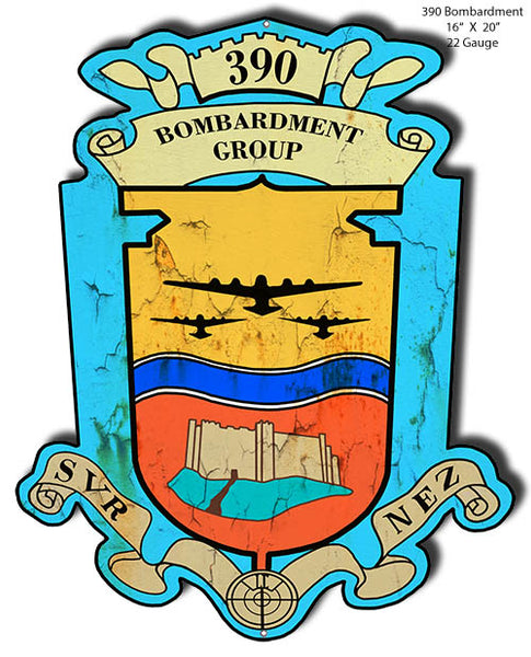 Bombardment Group 390 Cut Out Military Metal Sign 16x20