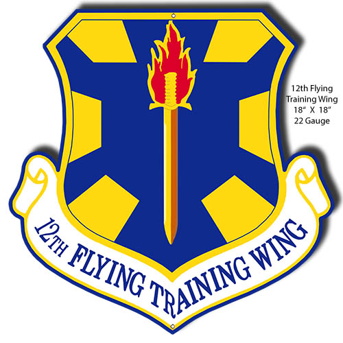 12th Flying Training Wing Cut Out Military Metal Sign 18x18